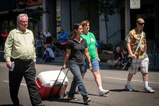 Vern, Monica, Laurie and Dougie, Optimists Alumni water bearers (Lions International Parade, Toronto, 2014)