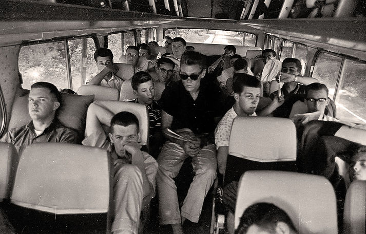Photo by Don Daber Left: Row 1: Bob Brown, Don Willison; Row 2: Doug Mackenzie, Row 3: Ron Cottrell beside Orest Burak, Row 4: John Shearer, ?; Row 5: Roman (?) and maybe Len Perrin in the back corner with sunglasses Warren Mills in the aisle with sunglasses Right Side: Row 1: Vic Kruklis; Row 2: Ron Prokop & Mel Dey; Row 3: Glen Durish; Row 4: ?; Row 5: Rick Boehnke