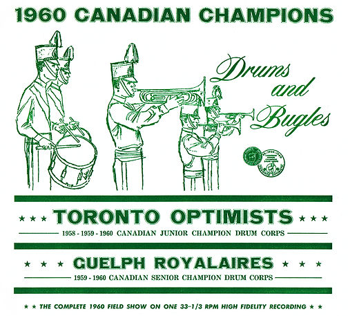 This was Don's very first album cover. The version for Optimists was green with the Optimists crest. I'm told that the version for the Royalaires was red with the Royalaires crest.  Created by Don Daber