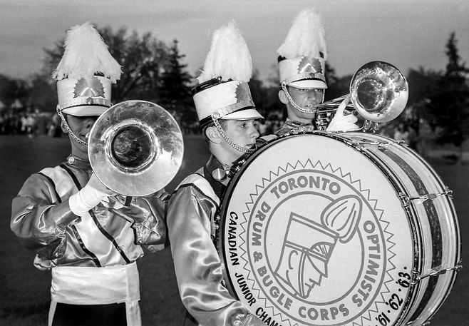Archie Van Dyke, John Gibson, Gord Roberts(?), Toronto Optimists promo shot (Keating Park, 1964)