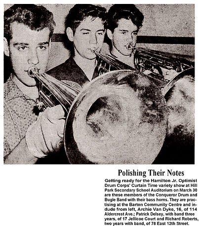 Photo of Conqueror guys in the Hamilton Spectator (Archie eventually joined Opti) (1962 or 1963)