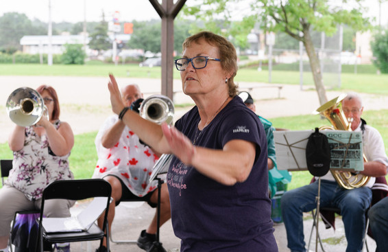 Jackie conducting the corps (July, 2017)