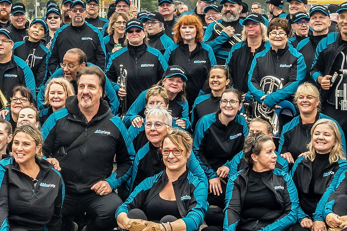 Al Chez with a bunch of Oktobercorps members (KW Oktoberfest Parade, Oct 8, 2018)