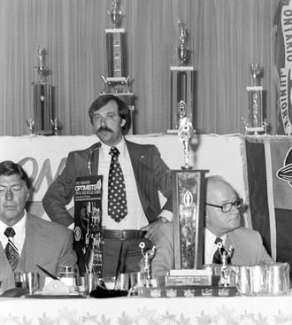 Lord Athol Layton, Joe Gianna and Gord Robinson (Toronto Optimists Awards Dinner, 1975)