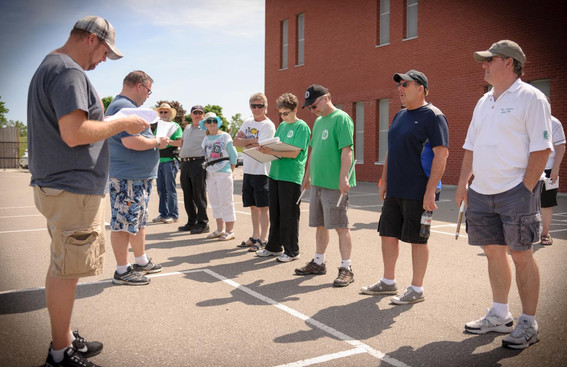 Chad and Randy with the drumline (rehearsal, May 2014)