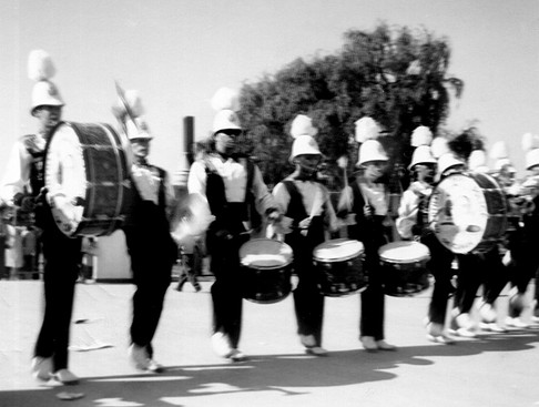 Tom May (4th from left) with Grantham's Drum Line (1960)