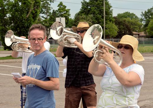 John, Bill & Heather, Optimists Alumni rehearsing (Oshawa Exhibition, June 1, 2013)
