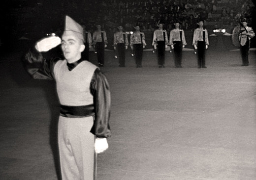 Maurice Legault is Drum Major, (before Cadets LaSalle) with Les Troubadours de Hull (Hull, 1963)