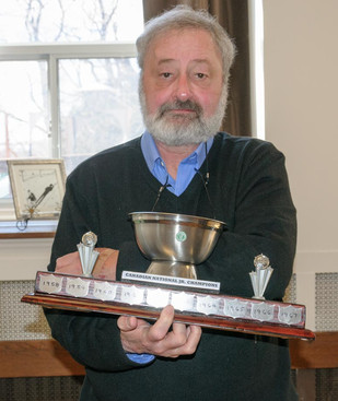 Vern Johansson with a replica of Optimists Nationals Trophy (Remembering Paul Thompson, 2015)