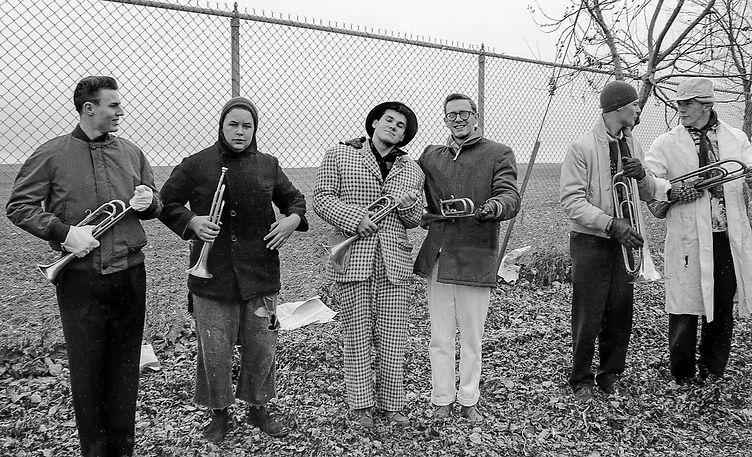 Hans Beohnke, John Shearer, Neil Ibbitson, Al Morrison, maybe Ross Cation and Len Perrin (Dress-down parade, 1961)