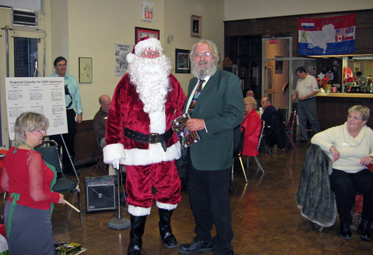 Santa with Paul Thompson, Belated Christmas party (Jan. 2008)
