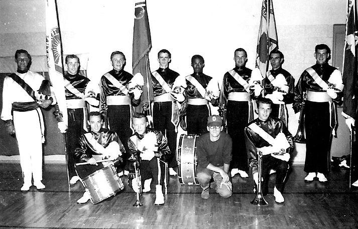 Front row: Harry Clark, Jim Patten, Ed Nanni, Ron Cook Back Row: Phil Hennings, Don Yeaman, Henry Beben, Ian Robertson, Hector Roberts, Bob Brown, Larry Cheevers, Bob Owen, (Bob Cook's foot)  Photo Submitted by Phil Hennings