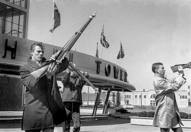 Bill McNabb, ? and John Diamond, Toronto Optimists rehearsing at the Shell Tower (CNE, 1964)
