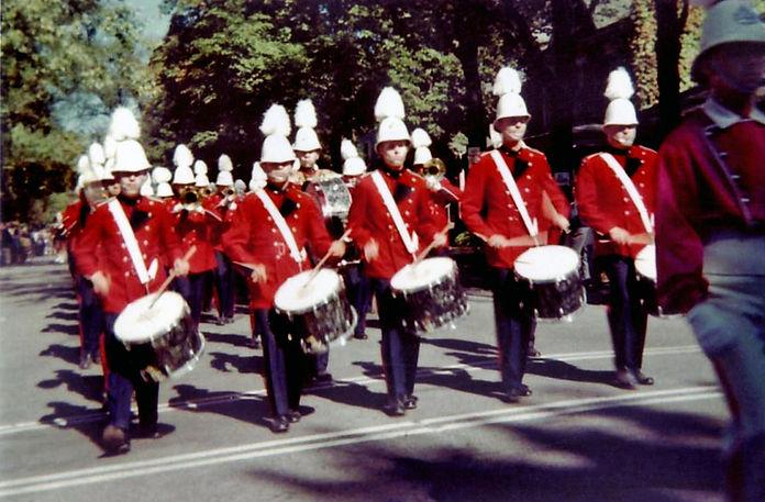 L-R: Les Slorack, Tom May, Dave Haynes, Paul Price & Jim Robins Bass Drum: Rick Splonick, Drum Major: Bud LeTour