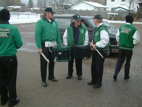 Some drummers at Ric Brown's before Oshawa parade (2005)