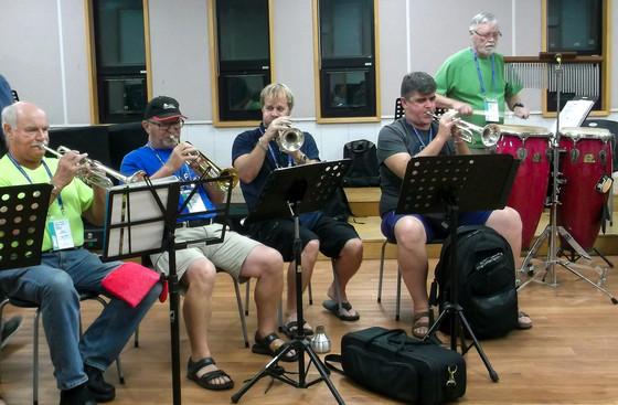 Rick, Geof, Kevin, Jason and Ken, Optimists Alumni rehearsing (Jeju, South Korea, 2019)