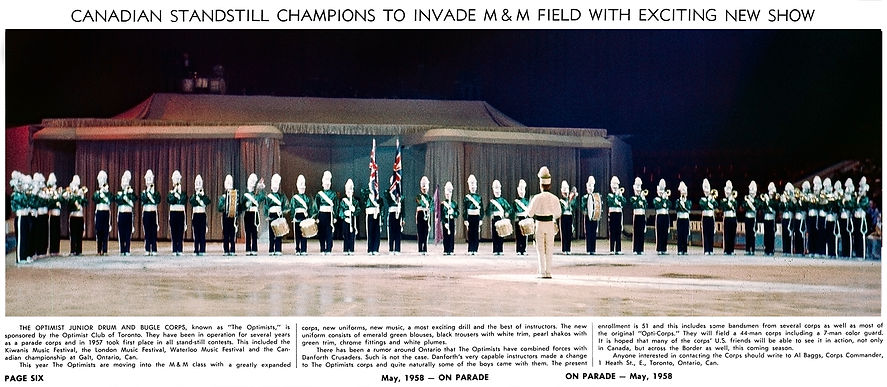 The photo was taken at the 1958 Ice Capades, Toronto Optimists first performance in the new green uniforms.  Submitted by Phil Hennings