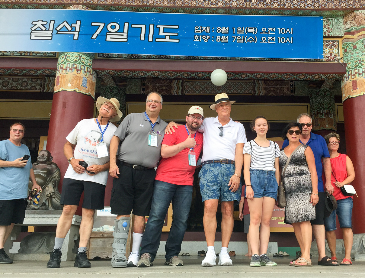 Russ, Rick, Mark, Matt, Mike, Laura, Debbie, Dave and Yvette, Optimists Alumni (Jeju, South Korea, 2019)