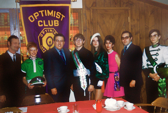 ?, ?, Mr. Day, Dave Burgess, ?, ?, Bob Christie & Mike Arsenault at an Optimists Club Meeting (1971?)