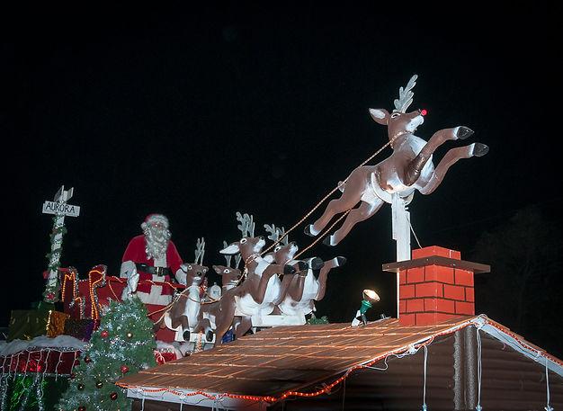 Santa and some reindeer (Aurora Santa Parade, 2019)