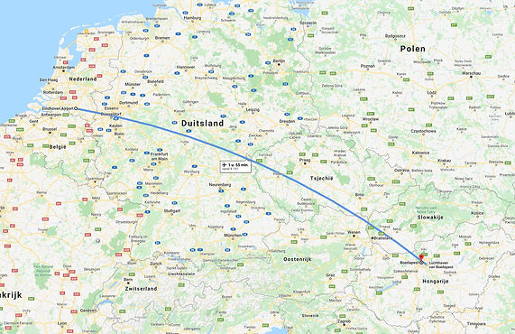 Eindhoven naar Boedapest, Hongarije.
