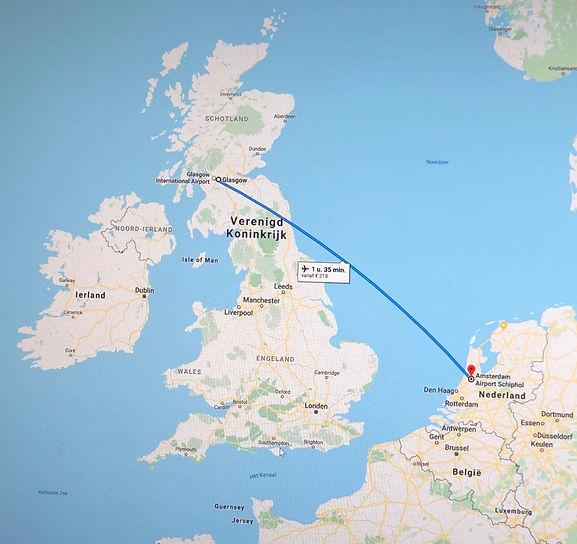 Vliegreis Amsterdam naar Glasgow