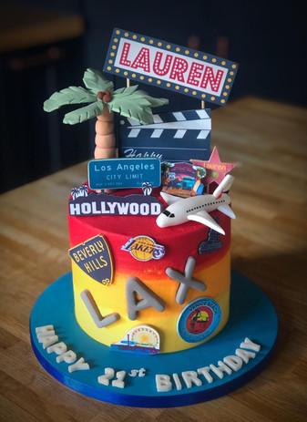 Los Angeles Birthday Cake | Kingfisher Bakery, Wiltshire, UK