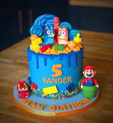 Lego, Mario, Cars, & Bluey Birthday Cake | Kingfisher Bakery, Wiltshire, UK
