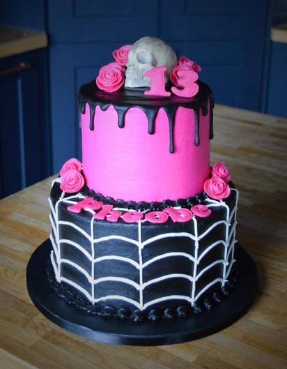 Pink Gothic BIrthday Cake | Kingfisher Bakery, Wiltshire, UK