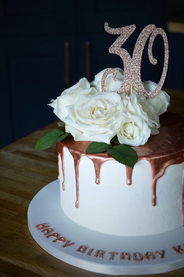 Rose Gold Drip Cake | Kingfisher Bakery, Wiltshire, UK