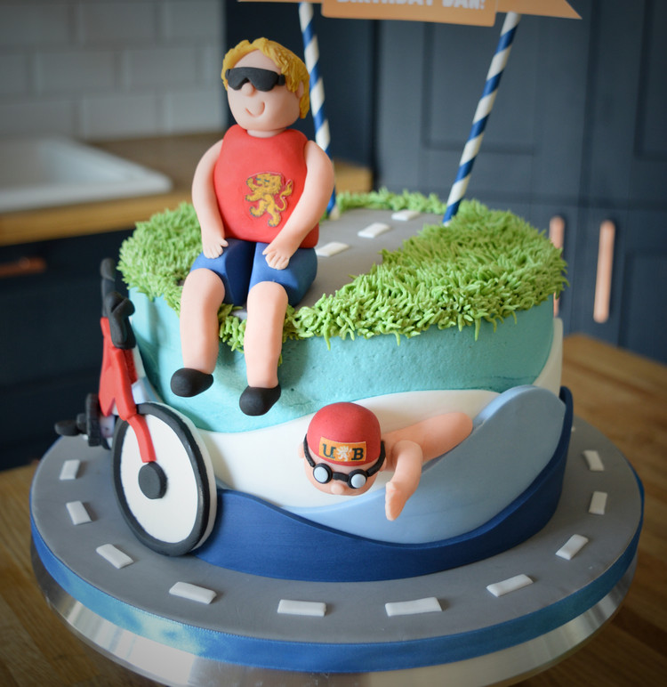 Triathlon Birthday Cake | Kingfisher Bakery, Wiltshire, UK
