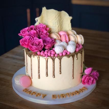 Pink & Gold Birthday Cake | Kingfisher Bakery, Wiltshire, UK