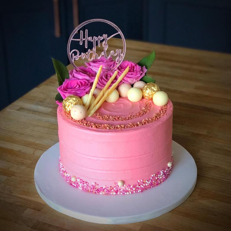 Pink Birthday Cake | Kingfisher Bakery, Wiltshire, UK