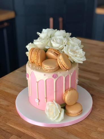 Pink & Gold Drippy Cake | Kingfisher Bakery, Wiltshire, UK