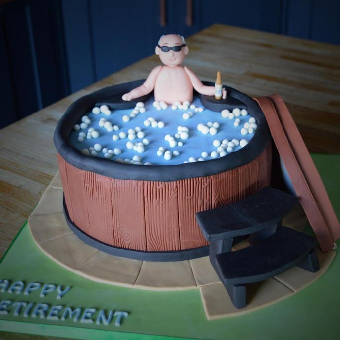 Hot Tub Retirement Cake | Kingfisher Bakery, Wiltshire, UK