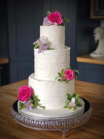 White Frosting Buttercream Wedding Cake | Kingfisher Bakery, Wiltshire, UK