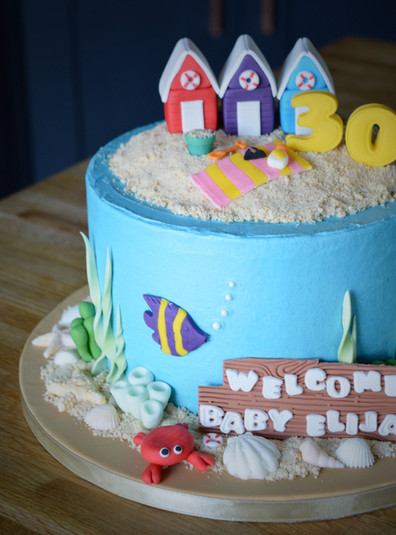 Beach Themed Birthday/Baby Cake | Kingfisher Bakery, Wiltshire, UK