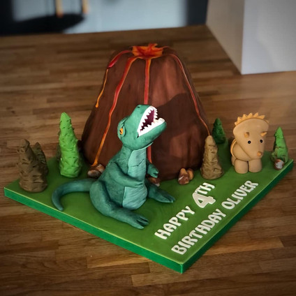 Dinosaur / T-Rex Volcano Birthday Cake | Kingfisher Bakery, Wiltshire, UK