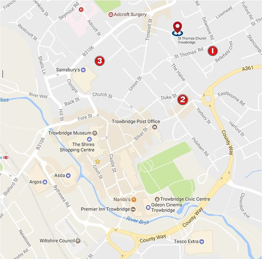 Trowbridge Community Choir - map of parking options for reheasals