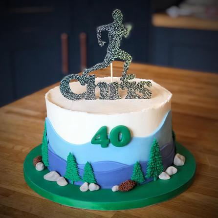Running/Mountains Birthday Cake | Kingfisher Bakery, Wiltshire, UK