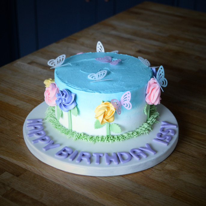 Flowers and Butterflies Cake | Kingfisher Bakery, Wiltshire, UK
