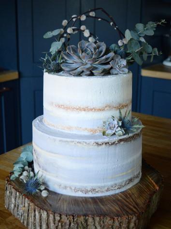 Semi-Iced Succulents Wedding Cake | Kingfisher Bakery, Wiltshire, UK