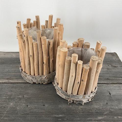 Holzgefässe in zwei Größen