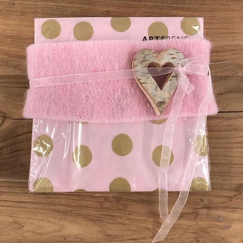 Serviette rosa mit Herz