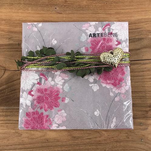 Serviette pink/rosa/grau dekoriert