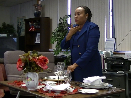 ISE Director Paullette Diaz-Reed providing social and corporate etiquette training for TACRON 21, on JEB Little Creek Base (2013)