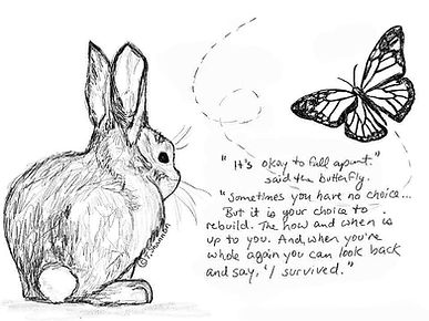 "Tara Shannon Artwork, bunny and butterfly saying ""It's okay to fall apart"""