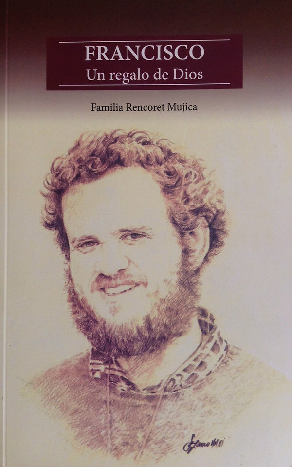 "Retrato a grafito delpadre Francisco Rencoret Mujica en la portada del libro ""Francisco un regalo dde Dis"""