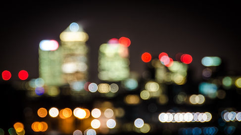 Bokeh city skyline looking east