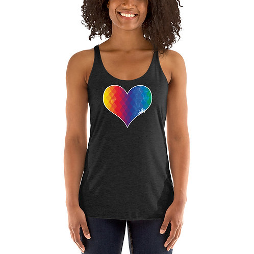 PRIDE Thinking Heart Women's Racerback Tank